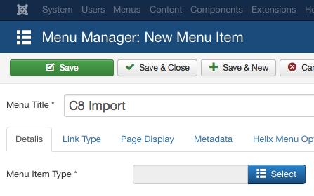 Create menu item