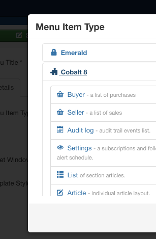 Cobalt type menu